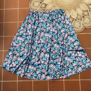 Vintage Floral Circle Skirt Made in USA